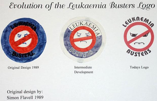 Evolution of the Leukaemia Busters logo